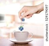 blueberry tea in a plain white... | Shutterstock . vector #529179097