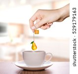 pear tea in a plain white cup   ... | Shutterstock . vector #529179163