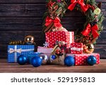 christmas  decoration on wood... | Shutterstock . vector #529195813
