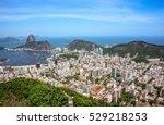 Small photo of Aerial view of cityscape, the Sugarloaf mountain, Atlantic ocean, Botafogo bay, Botafogo and Humaita districts of Rio de Janeiro, Brazil
