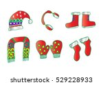 winter clothes. santa stocking... | Shutterstock .eps vector #529228933