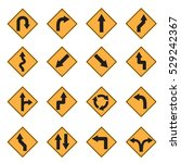 traffic sign yellow road sign... | Shutterstock .eps vector #529242367