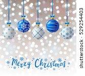 blue christmas balls on shiny... | Shutterstock .eps vector #529254403