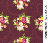 seamless floral pattern with... | Shutterstock .eps vector #529255027