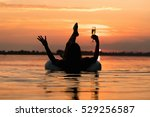 woman relaxing with a glass of... | Shutterstock . vector #529256587
