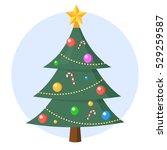 christmas tree icon vector flat ... | Shutterstock .eps vector #529259587