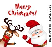 funny santa and reindeer on... | Shutterstock .eps vector #529273213