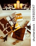 beautiful christmas gift boxes... | Shutterstock . vector #529305547
