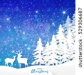 merry christmas snow winter... | Shutterstock .eps vector #529306687