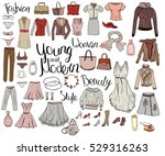 set with isolated fashion... | Shutterstock .eps vector #529316263