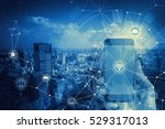 duo tone graphic of smart phone ... | Shutterstock . vector #529317013