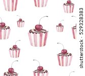 cup cake watter color seamless... | Shutterstock . vector #529328383