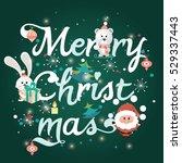 merry christmas lettering | Shutterstock .eps vector #529337443