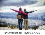 two happy women traveler with a ... | Shutterstock . vector #529337737