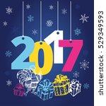 christmas and new year objects. ... | Shutterstock .eps vector #529349593