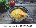 raw bulgur wheat grains in... | Shutterstock . vector #529355647