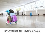airport luggage trolley with... | Shutterstock . vector #529367113
