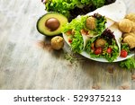 tortilla wrap with falafel and... | Shutterstock . vector #529375213