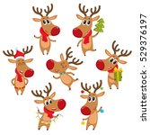 cute and funny christmas... | Shutterstock .eps vector #529376197