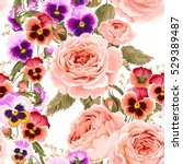 roses and pansies seamless... | Shutterstock .eps vector #529389487