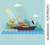 landscape seaport. the crane... | Shutterstock .eps vector #529390693