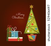 decorated christmas tree and... | Shutterstock .eps vector #529406497