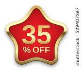 35  off golden badge  vector  | Shutterstock .eps vector #529407367