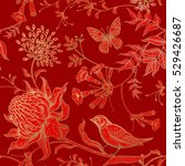exotic flowers  birds and... | Shutterstock .eps vector #529426687