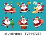 set of christmas santa claus in ... | Shutterstock .eps vector #529447297