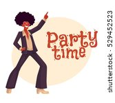 man in afro wig and 1970s style ... | Shutterstock .eps vector #529452523