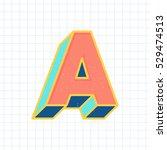 a letter vintage 3d font  retro ... | Shutterstock .eps vector #529474513