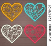 set stencil lacy hearts with... | Shutterstock .eps vector #529475407