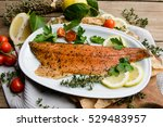 fillet of salmon smoked trout | Shutterstock . vector #529483957