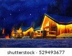 Snowy Winter Scene Of A Cabin...