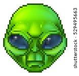 pixel art green cartoon alien...   Shutterstock . vector #529495663