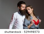 young sexy couple of bearded... | Shutterstock . vector #529498573