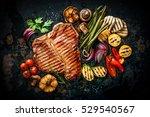 beef t bone steak with grilled... | Shutterstock . vector #529540567