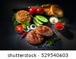 homemade hamburger. grilled... | Shutterstock . vector #529540603