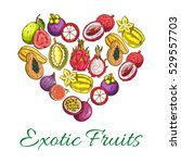exotic fruits heart shape of... | Shutterstock .eps vector #529557703