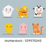 cute farm animals cartoon flat... | Shutterstock .eps vector #529570243