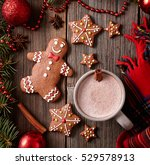 cup of hot chocolate or cocoa... | Shutterstock . vector #529578913