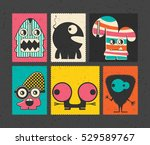 set of six retro postage s... | Shutterstock .eps vector #529589767