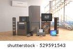 home appliances. gas cooker  tv ... | Shutterstock . vector #529591543