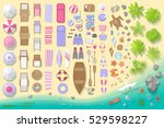 icons set. beach elements and... | Shutterstock .eps vector #529598227