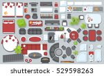 Icons set of interior (top view). Isolated Vector Illustration. Furniture and elements for living room, bedroom, kitchen, bathroom. Floor plan (view from above). Furniture store. | Shutterstock vector #529598263