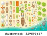 icons set. beach elements and... | Shutterstock .eps vector #529599667