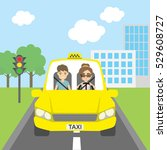 taxi driver with passenger.... | Shutterstock . vector #529608727
