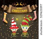 vector merry christmas greeting ... | Shutterstock .eps vector #529623397
