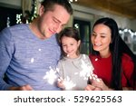 young family with sparklers at... | Shutterstock . vector #529625563