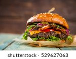 close up of home made burgers | Shutterstock . vector #529627063